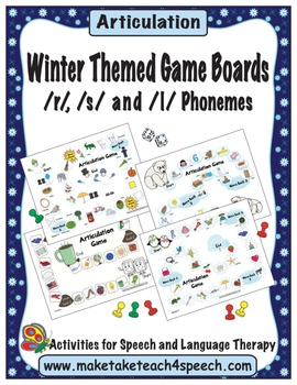 Winter Themed Game Boards- /r/, /s/ and /l/ Phonemes