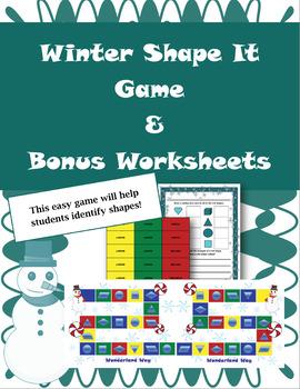 Winter Themed Game- Shape It & 2 Bonus Worksheets