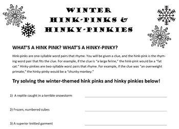 Winter-Themed Hink Pinks and Hinky Pinkies