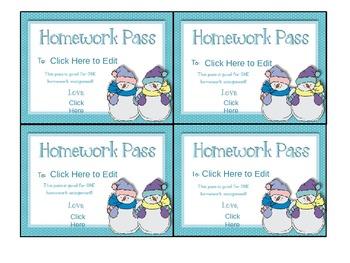Winter Themed Homework Pass (Editable)
