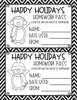 Winter Themed Homework Pass Freebie