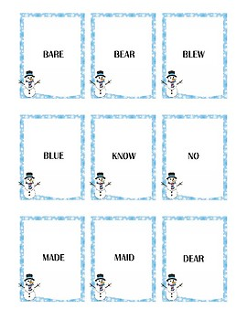 Winter Themed Homophone Concentration Game - ≤4 letters