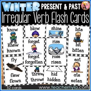 Winter Themed Irregular Verb Flash Cards