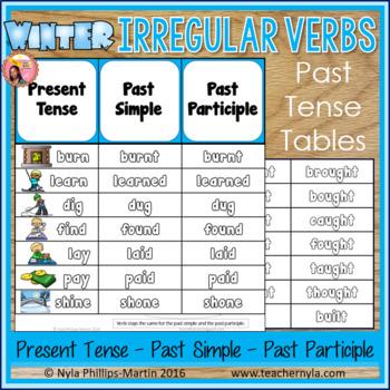 Winter Themed Irregular Verbs Past Tense Tables