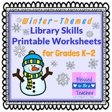 Winter-Themed Library Skills Worksheets for Grades K-2