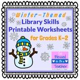 Winter-Themed Library Skills Worksheets for Grades K-2
