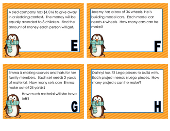 Winter Themed Long - Division Task Cards
