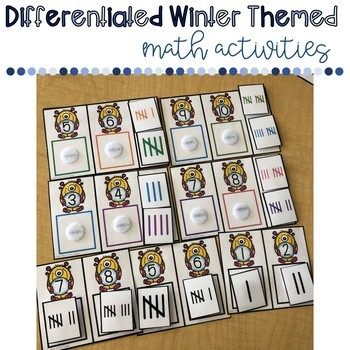 Winter Themed Math Activities/ Centers- Differentiated in Two LEVELS!