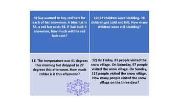 Winter Themed Math Task Cards-Second Grade