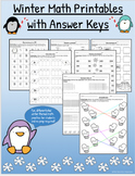 Winter Themed Math Worksheets with Answer Keys (Grades 2-3 & No Prep)