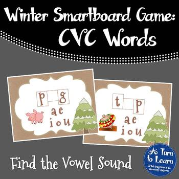 Winter Themed Middle Vowel Sounds Game for Smartboard or P