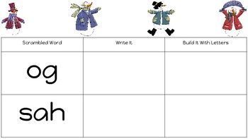 Winter Themed Mixed Up Sight Words