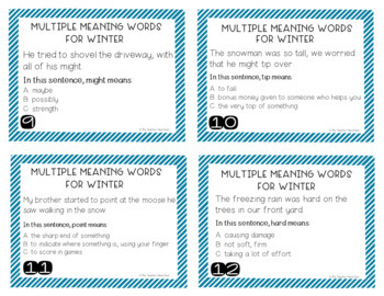 Winter Themed Multiple Meaning Words Task Cards for 3rd - 5th Grade