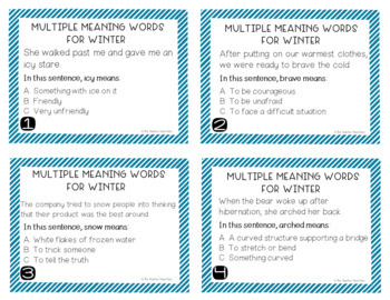 Multiple Meaning Words for Winter Task Cards
