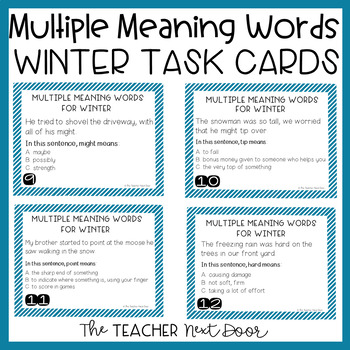 Winter Themed Multiple Meaning Words Task Cards for 3rd -