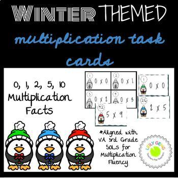 Winter Themed Multiplication Task Cards (0, 1, 2, 5, 10) for Fact Fluency
