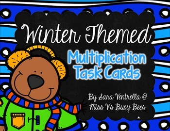 Winter Themed Multiplication Task Cards