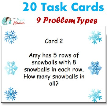 Winter Themed Multiplication and Division Word Problem Task Cards