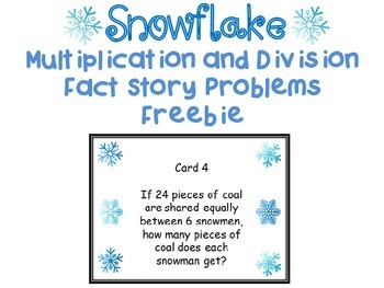 Winter Themed Multiplication and Division Word Problem Tas