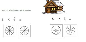 Winter Themed Multiplying a Whole Number by a Fraction