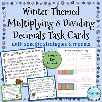 Winter Themed Multiplying and Dividing Decimal Task Cards