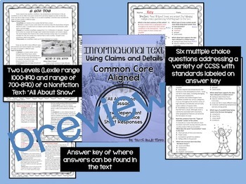 Informational Text Dependent Questions Using Claims Details Winter {Common Core}