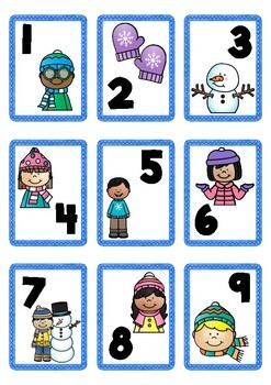 Winter Themed Number Cards 1-100