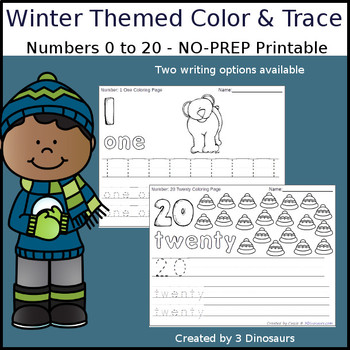 Winter Themed Number Color and Trace
