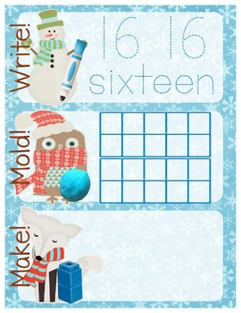 Winter-Themed Number Recognition 11-20 Math Center - Write, Mold, Make!