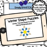 Winter Themed Pattern Block Shape Puzzle Activities For GOOGLE CLASSROOM