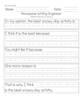 Winter Themed Persuasive Opinion Writing