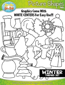 Winter Picture Shapes Clipart {Zip-A-Dee-Doo-Dah Designs}