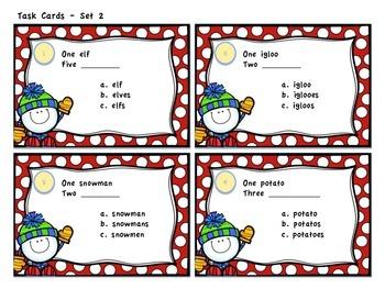 Winter Themed Plural Noun Task Cards - Set 1