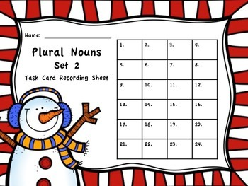 Winter Themed Plural Noun Task Cards - Set 2