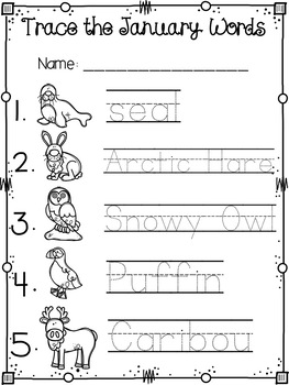 Winter Themed Pocket Chart Pictures & Word Cards