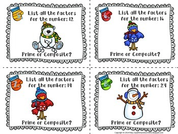 Winter Themed Prime or Composite Factor Task Cards