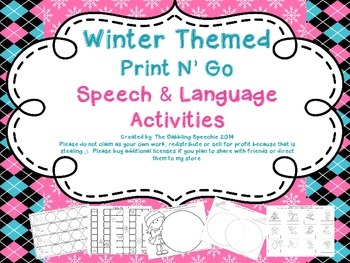 Winter Themed Print N' Go Speech & Language Activities