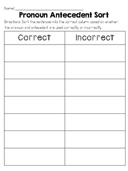 Winter Themed Pronoun Antecedent Agreement Sort