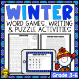 Winter Activities   Word Games Puzzles and Writing Prompts