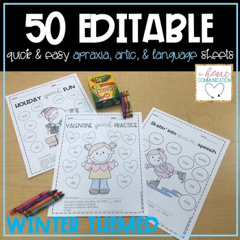 Winter Themed Quick and Easy Speech & Language Sheets