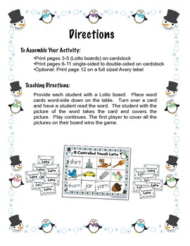 Winter Themed R-Controlled Vowel Lotto Game