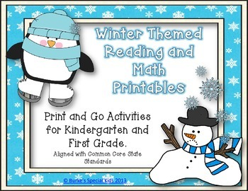 Winter Printable Reading and Math for Kindergarten and First Grade