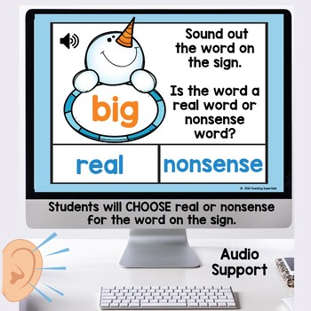 Winter Themed Real or Nonsense Words Boom Cards