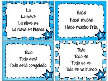 Winter Themed Repeated Reading Task Cards en Español