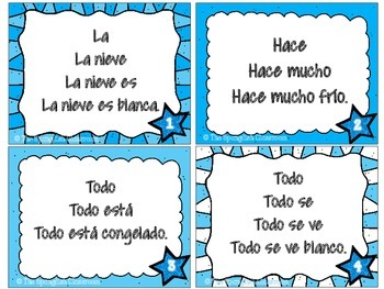 Winter Themed Repeated Reading Task Cards en Español