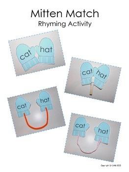 Winter Themed Rhyming Activity - Mitten Match (CVC and CVC+e words)