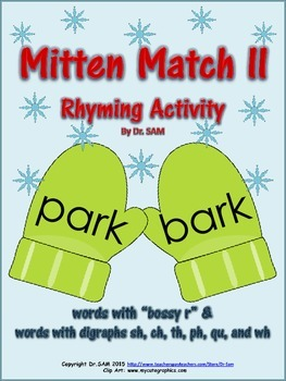 Winter Themed Rhyming Activity - Mitten Match II (bossy r & digraphs)