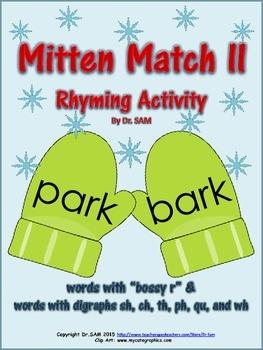 Winter Themed Rhyming Activity - Mitten Match II (bossy r