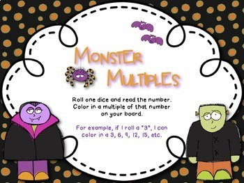 Halloween Themed Roll and Color Math Boards