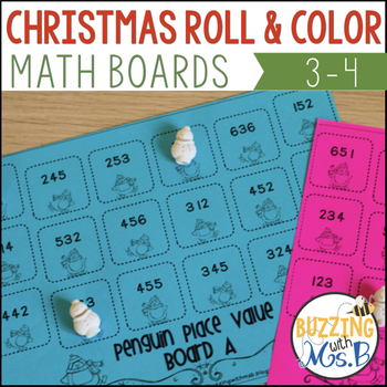 Winter Themed Roll and Color Math Boards: Multiplication, Place Value, and more